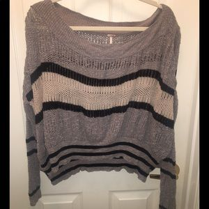Free People Crop Striped Sweater Top